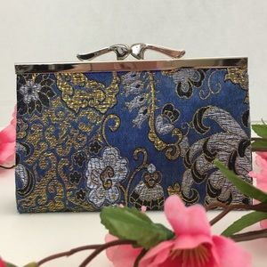 Handbags - Blue and Metallic Gold Floral Clutch